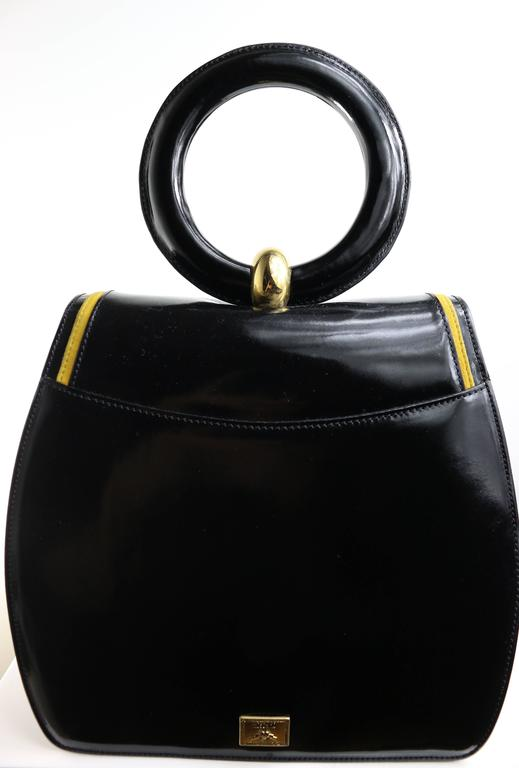 "Women's Moschino Redwall ""Peace & Love"" Black Leather Handle Bag For Sale"
