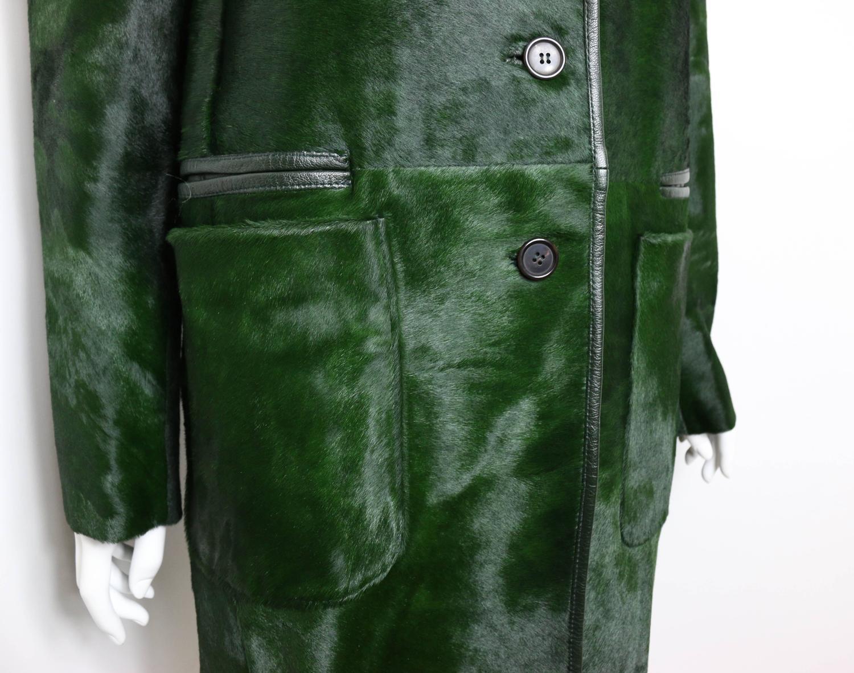 replica prada handbag - Prada Green Pony Leather Coat at 1stdibs