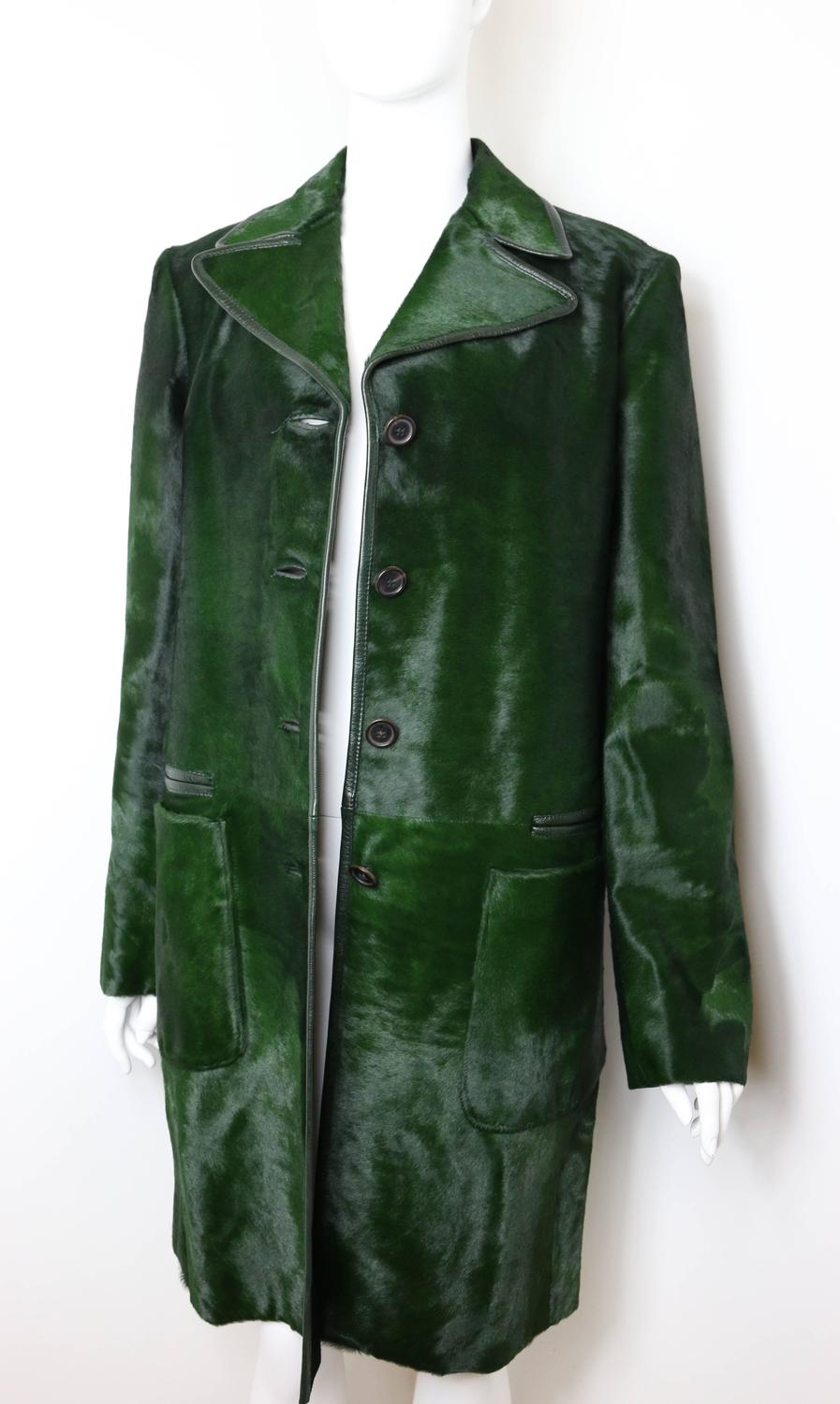 discount prada wallets - Prada Green Pony Leather Coat at 1stdibs