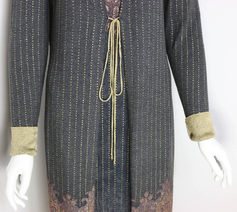 Vintage 90s Roberto Cavalli Art Collection Dress and Long Cardigan  For Sale 1