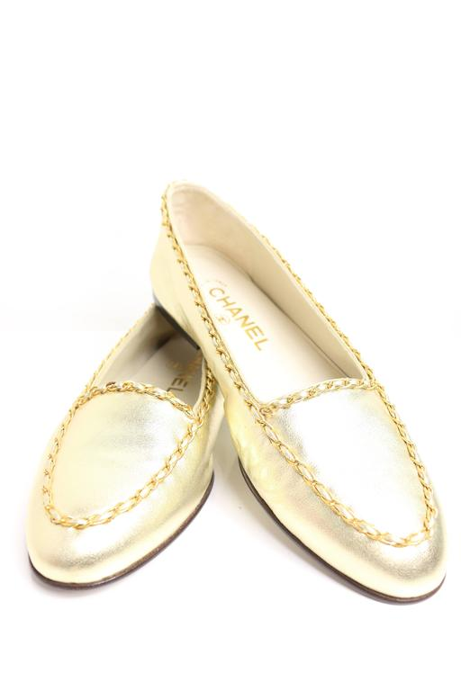 Chanel Classic Gold Leather Flats 2