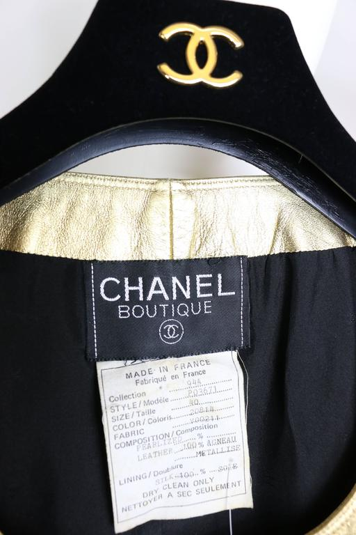 Chanel Gold Leather Vest  For Sale 1