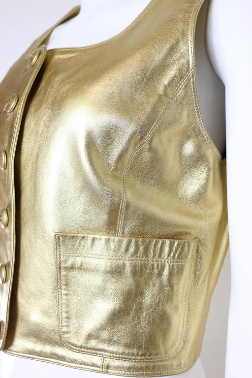 Brown Chanel Gold Leather Vest  For Sale