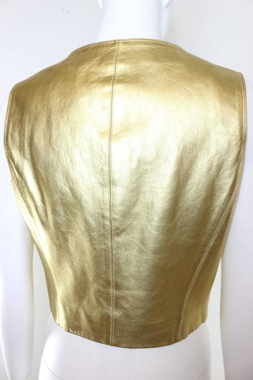 Chanel Gold Leather Vest  In Excellent Condition For Sale In Sheung Wan, HK