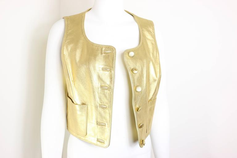 Women's Chanel Gold Leather Vest  For Sale