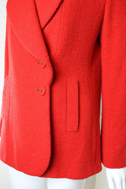 Chanel Red Boucle Wool Jacket In New Condition For Sale In Sheung Wan, HK