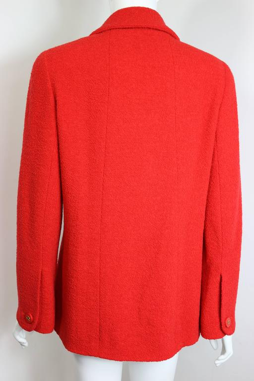 Women's Chanel Red Boucle Wool Jacket For Sale