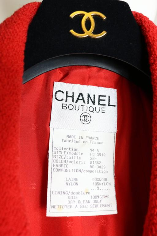 Chanel Red Boucle Wool Jacket For Sale 1