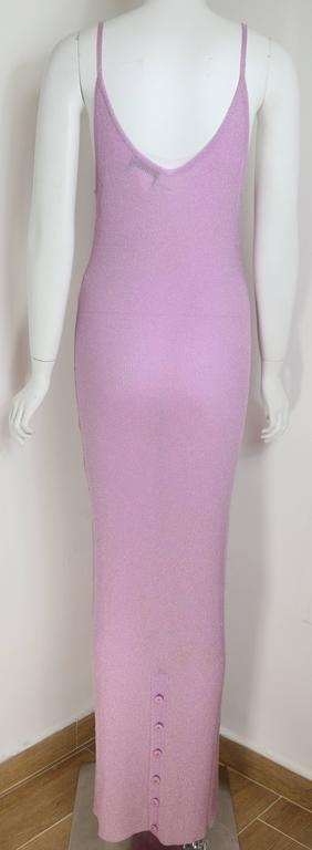 Chanel Pink Metallic Maxi Dress 2