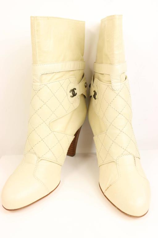 Chanel Cream Leather Quilted Ankle Boots  2