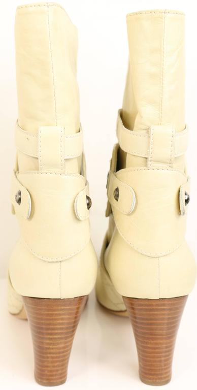 Chanel Cream Leather Quilted Ankle Boots  3
