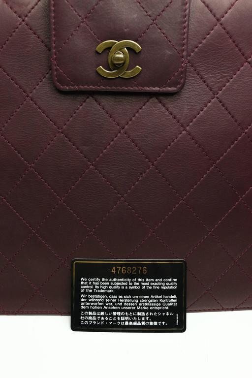 Black Chanel Burgundy Quilted Leather Flap Bag  For Sale