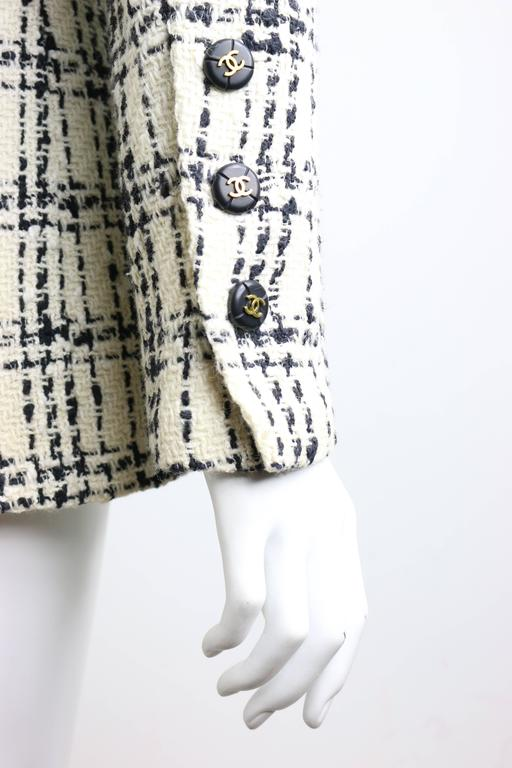 Gray Chanel Black And White Plaid Tweed Jacket For Sale