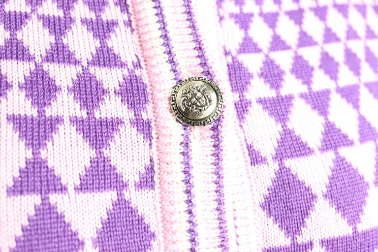 - 90s Gianni Versace Sport geometric pattern purple shades cropped cardigan sweater. 