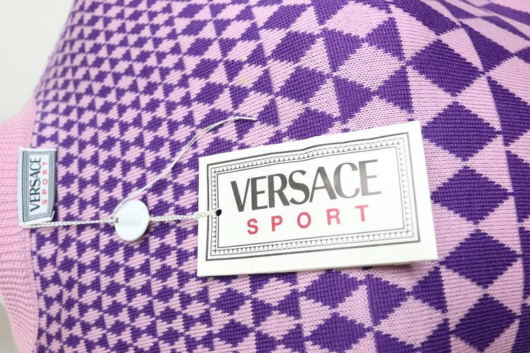 Gianni Versace Sport Geometric Purple Cropped Cardigan Sweater 4