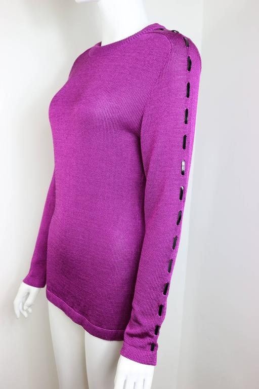 Claude Montana Purple Wool Patent Leather Trim Sweater  3