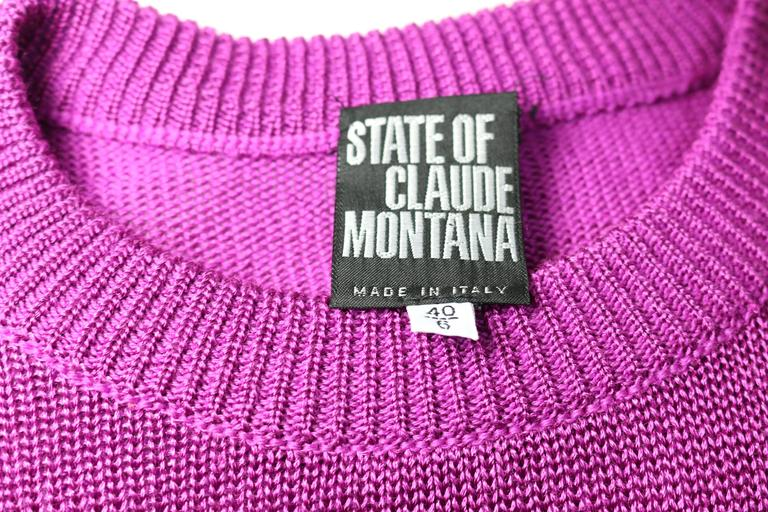 Claude Montana Purple Wool Patent Leather Trim Sweater  4