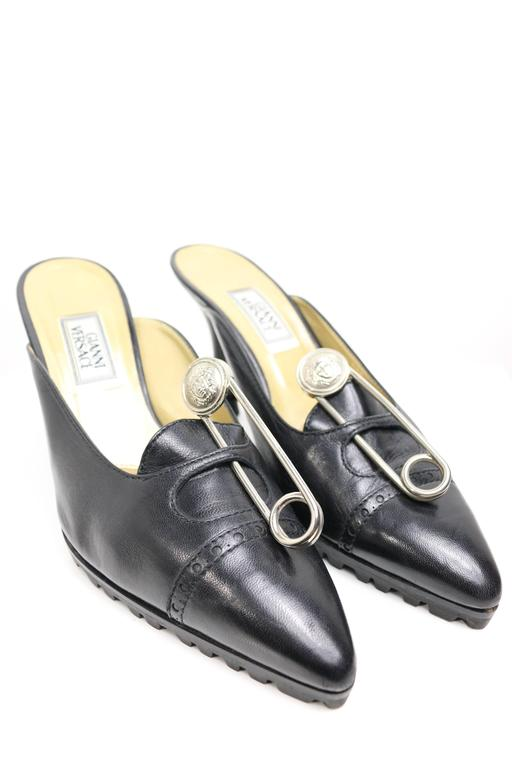 Gray Gianni Versace Black Leather Medusa Safety Pins Mules For Sale