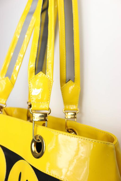 Moschino Yellow Smiley Face Patent Mesh Tote Bag 4