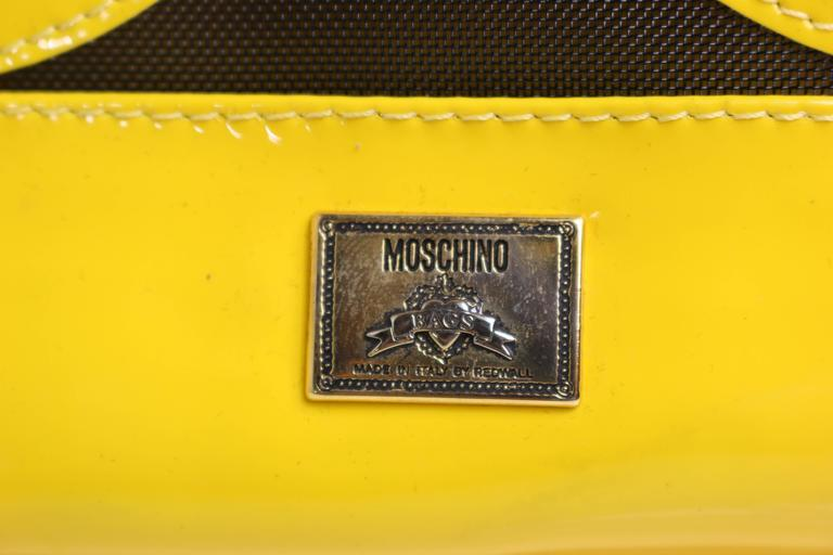 Moschino Yellow Smiley Face Patent Mesh Tote Bag At 1stdibs
