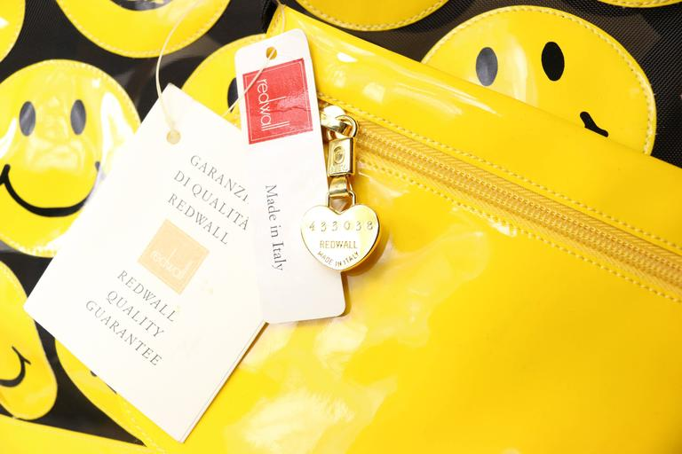 Moschino Yellow Smiley Face Patent Mesh Tote Bag 5
