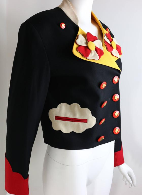 Black Moschino Double Breasted Cropped Jacket For Sale