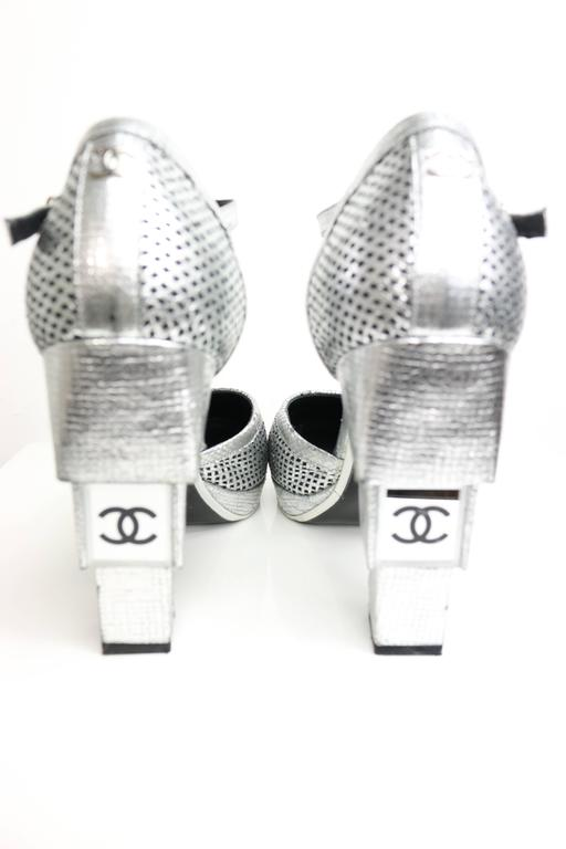 Chanel Silver Metallic D'ORSAY High Heels Pumps 3