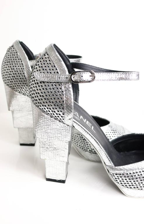 Chanel Silver Metallic D'ORSAY High Heels Pumps 2