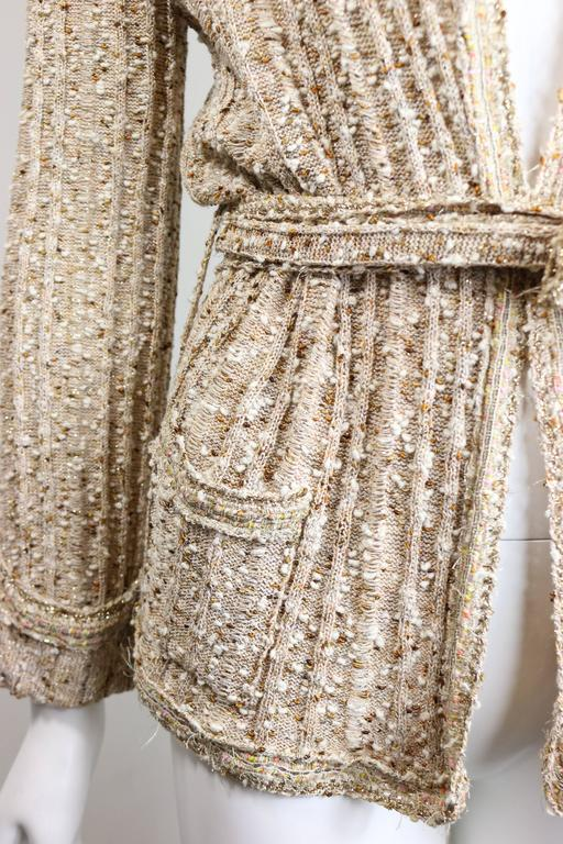 - Chanel beige gold metallic threads and sequins and sash belted cardigan sweater jacket. 