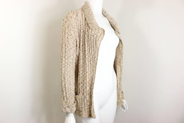Women's Chanel Beige/Gold Metallic Belted Cardigan Sweater Jacket  For Sale