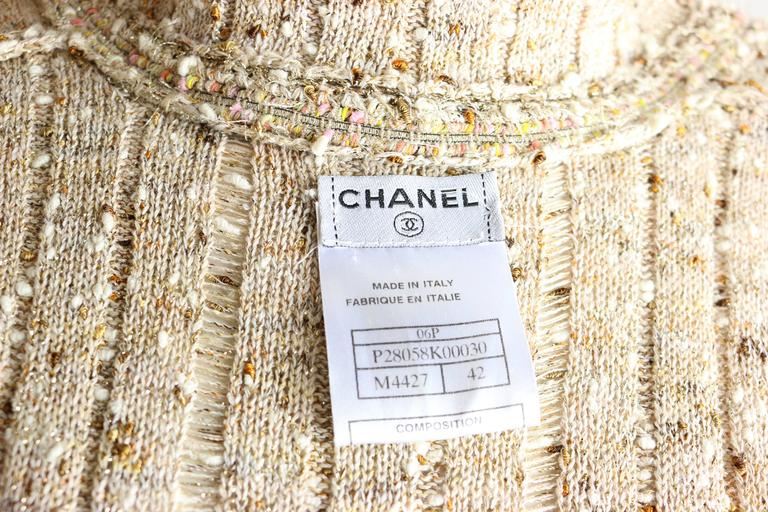 Chanel Beige/Gold Metallic Belted Cardigan Sweater Jacket  For Sale 1