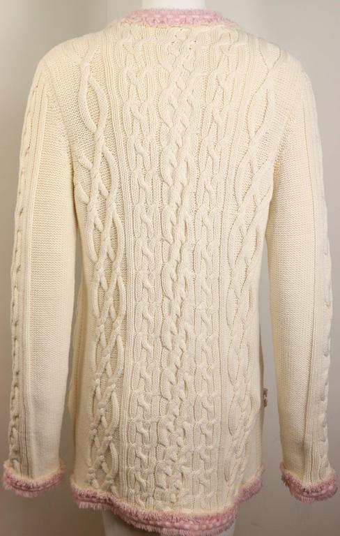 Chanel White Pink Fringe Trim Knitted Pattern Cardigan Sweater For Sale at 1s...