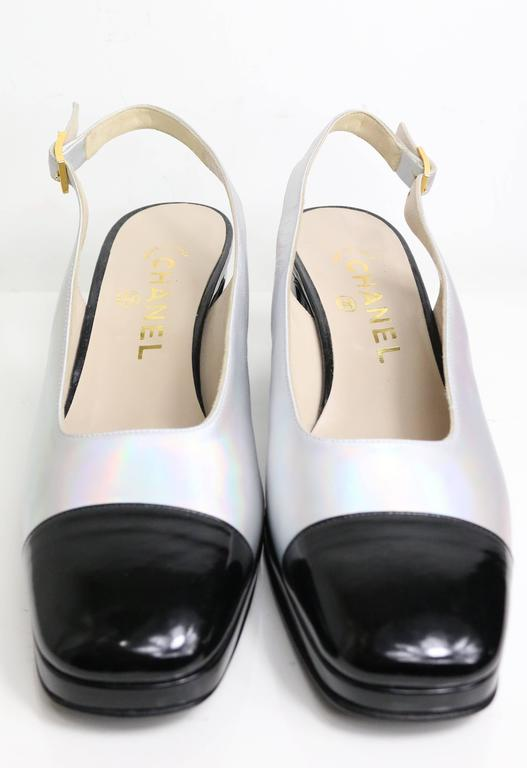 Chanel Bi Tone Metallic Silver with Black Patent Square Toe Slingback Shoes 2