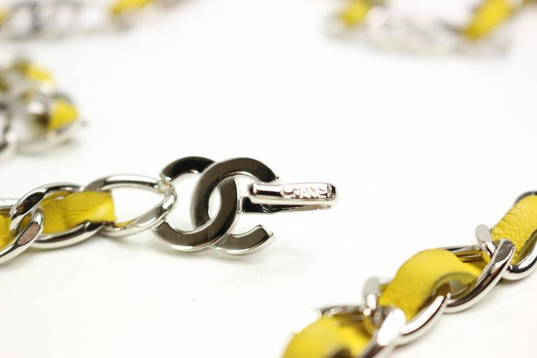 "Chanel Yellow Leather Silver Chain Belt With Silver ""CC"" Logo 3"