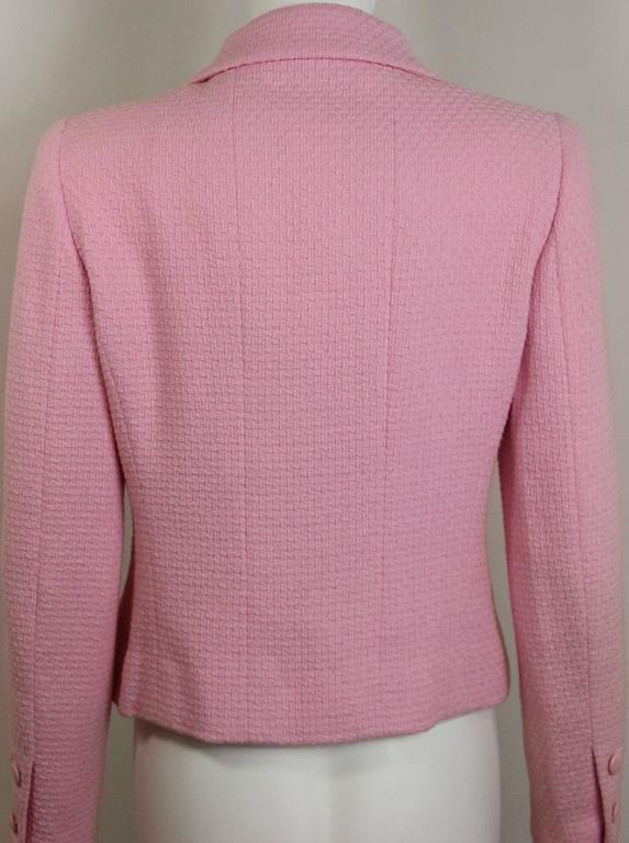 Brown Chanel Classic Pink Tweed Boucle Cropped Jacket For Sale