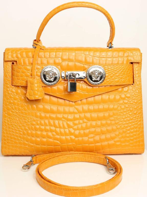 0f6dd5b0 Gianni Versace Couture Orange Croc Embossed Enamel Leather Kelly Style  Handbag