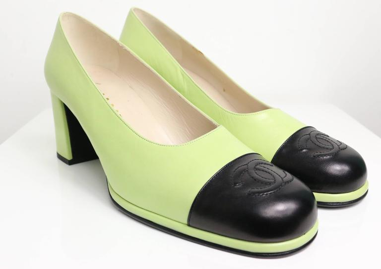Chanel Green Two Tones Leather Loafers Shoes 2