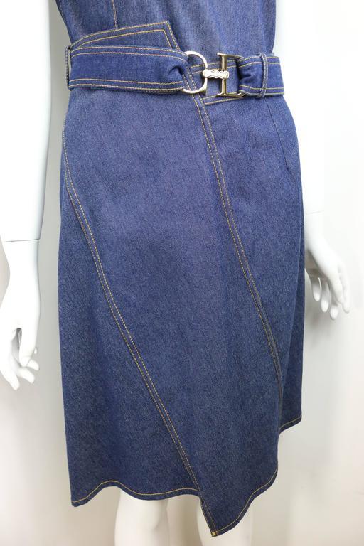 Purple Christian Dior Denim Belted Asymmetrical Sleeveless Dress For Sale