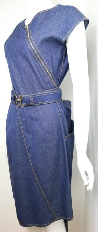 Christian Dior Denim Belted Asymmetrical Sleeveless Dress In Excellent Condition For Sale In Sheung Wan, HK