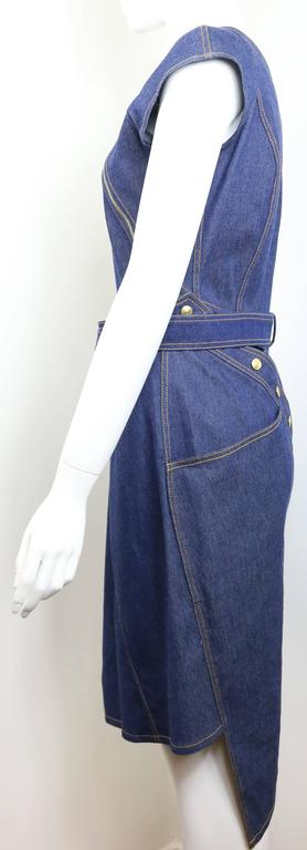 Women's Christian Dior Denim Belted Asymmetrical Sleeveless Dress For Sale