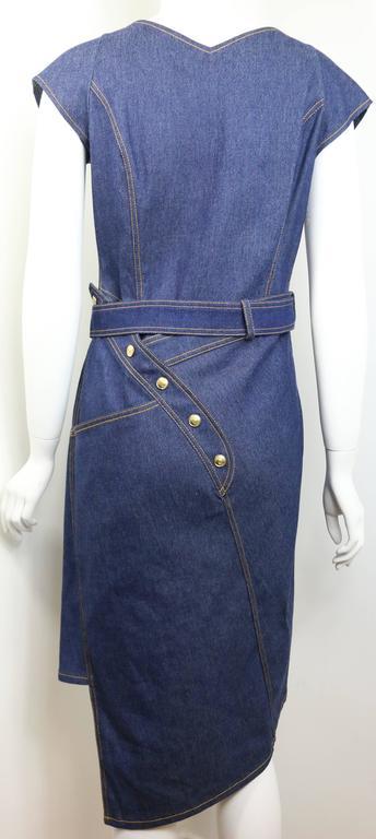 Christian Dior Denim Belted Asymmetrical Sleeveless Dress For Sale 1