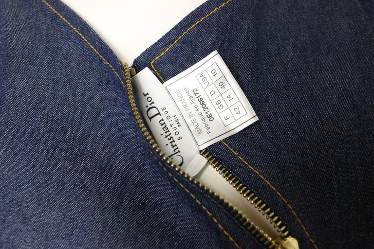 Christian Dior Denim Belted Asymmetrical Sleeveless Dress For Sale 3