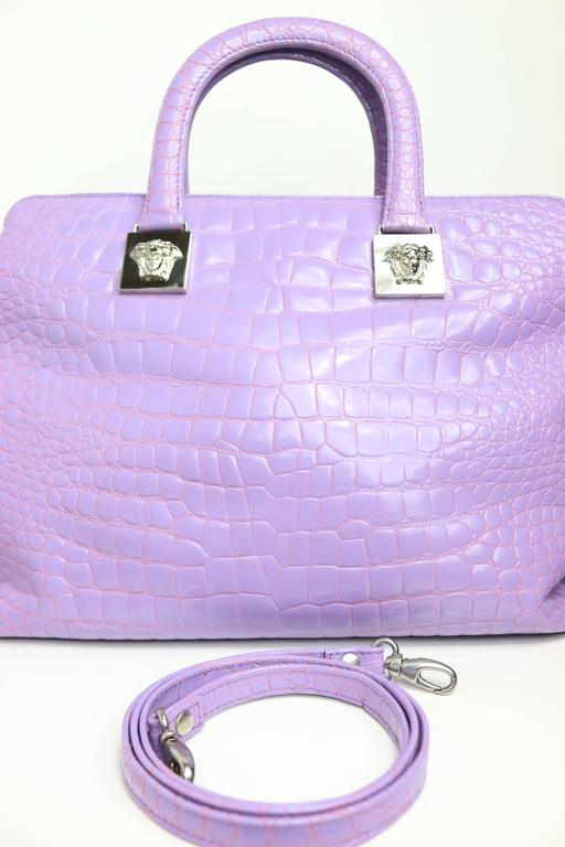 Women's Gianni Versace Couture Purple Croc Embossed Enamel Leather Handbag For Sale