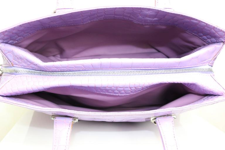 Gianni Versace Couture Purple Croc Embossed Enamel Leather Handbag For Sale 1
