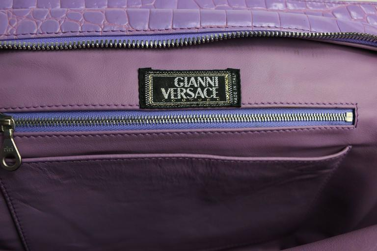 Gianni Versace Couture Purple Croc Embossed Enamel Leather Handbag For Sale 2