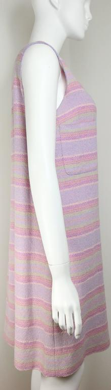 Chanel Multi-Colored Wool Blend Striped Tweed Dress In Excellent Condition For Sale In Sheung Wan, HK
