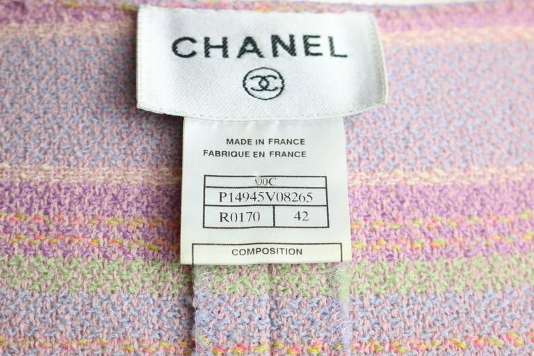 Chanel Multi-Colored Wool Blend Striped Tweed Dress For Sale 1