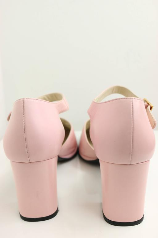 "Chanel Pink Two Tones Leather ""CC"" Logo Strap Loafers Shoes 4"