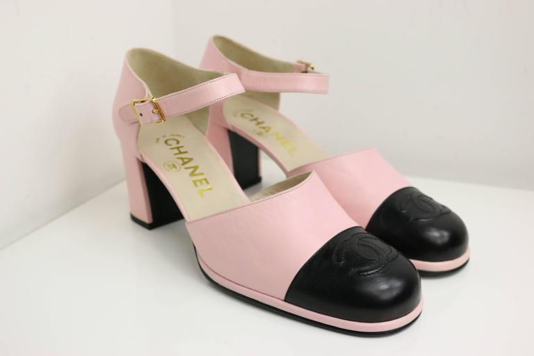 "Chanel Pink Two Tones Leather ""CC"" Logo Strap Loafers Shoes 2"