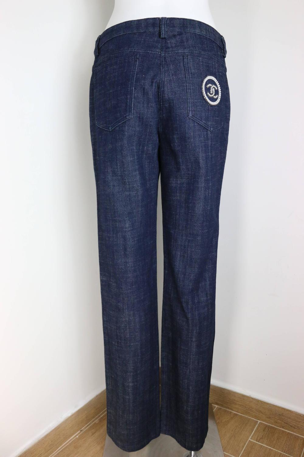 Chanel blue embroidered faux pearl denim jeans for sale at